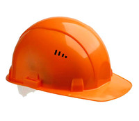 Каска защитная оранжевая/белая