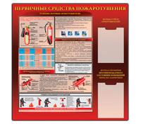 """Стенд """"Первичные средства пожаротушения  (ОУ) (1000х1000)"""""""