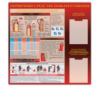 """Стенд """"Первичные средства пожаротушения  (ПО) (1000х1000)"""""""
